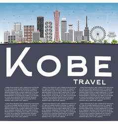 Kobe skyline with gray buildings blue sky vector