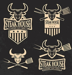 Set of steak house emblems templates vector