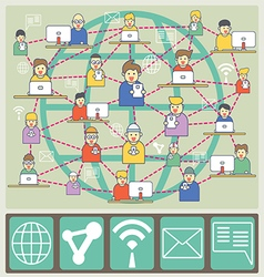 People are in world communication vector