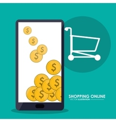 Smartphone coins and shopping cart shopping vector