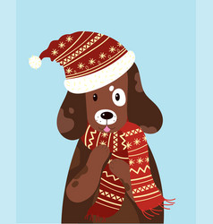 A dog in a hat and scarf vector