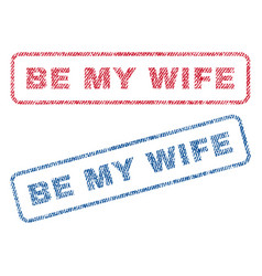 Be my wife textile stamps vector