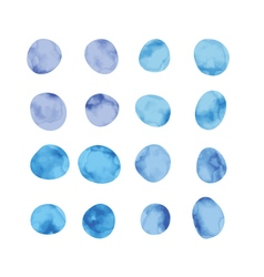 Blue watercolor spots stained petals hand painted vector