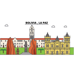 Bolivia la paz outline skyline bolivian flat vector