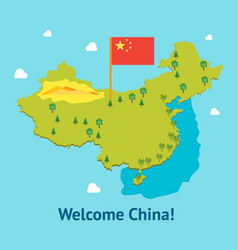 Cartoon travel china welcome card poster tourism vector