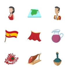Country Spain icons set cartoon style vector image vector image