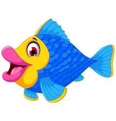 cute fish cartoon swimming vector image vector image