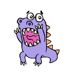 cute purple dragon in panic vector image