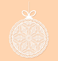 Decorative white lace christmas ball toy on beige vector