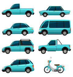 Different types of transportations in light blue vector