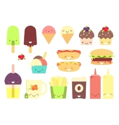 Fast food sticker set vector image vector image