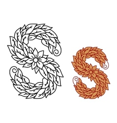 Floral and foliate font uppercase letter S vector image vector image