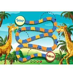 Game template with giraffe in the jungle vector image vector image