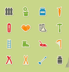 Garden tools simply icons vector