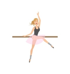Girl in pointers in ballet dance class exercising vector
