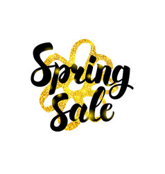 Gold spring sale greeting vector