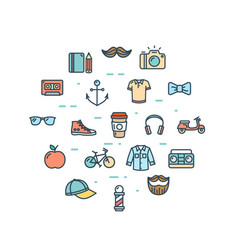 hipster icon round design template thin line set vector image vector image