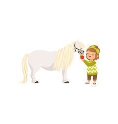 Lovely little girl taking care of her pony horse vector