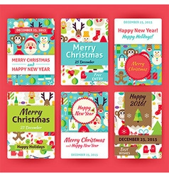 Merry christmas template invitation set in modern vector