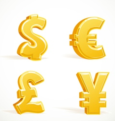 Monetary gold signs dollar pound euro and yen vector