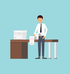 paper work at office business man making a report vector image vector image