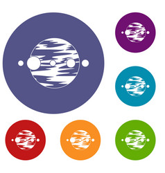 planet and moons icons set vector image vector image