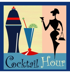 Retro cocktail background vector