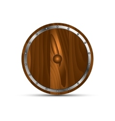 Round shield from wood vector