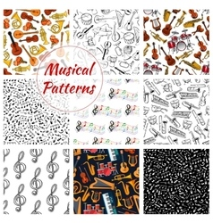 Seamless pattern of musical instruments vector image vector image