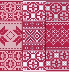 Set geometric knitted pattern vector
