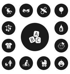 Set of 13 editable child icons includes symbols vector