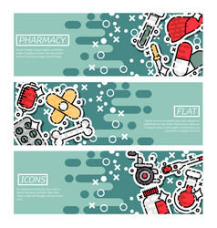 Set of horizontal banners about pharmacy vector