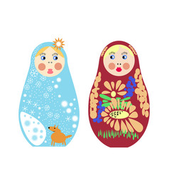 set of russian nesting dolls matryoshka vector image vector image
