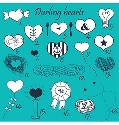 Set of stylized hand drawn hearts vector image vector image