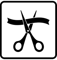 Sign with scissors cutting ribbon vector