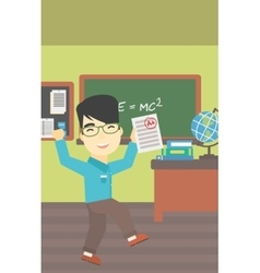 Student holding test paper with best result vector image