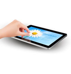tablet with flowers and women hand vector image