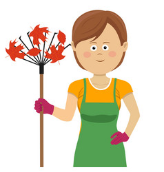 young gardening woman standing with rake vector image