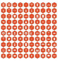 100 beer icons hexagon orange vector