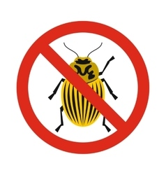 Prohibition sign colorado beetles icon flat style vector