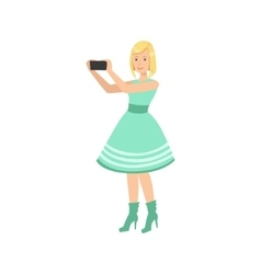 Girl In Blue Dress Taking Pictures With Photo vector image