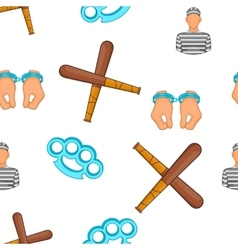 Crime and punishment pattern cartoon style vector image