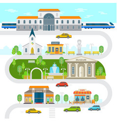 city infographic elements town flat vector image