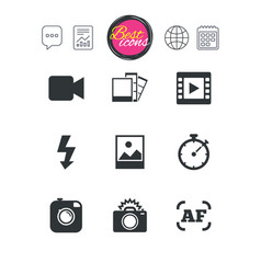 Photo video icons camera photos and frame vector