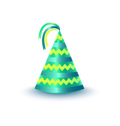 Striped green party hat with ribbons icon vector