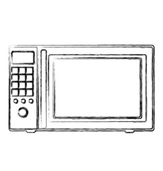 Monochrome sketch of oven microwave vector