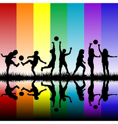 Children silhouettes playing on rainbow background vector image