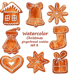Watercolor christmas gingerbread cookies vector