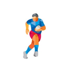Rugby player running low polygon vector