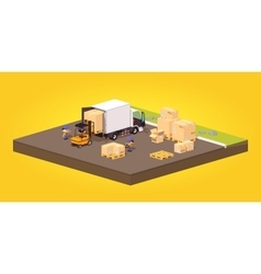 Cube world loading or unloading of the cardboard vector